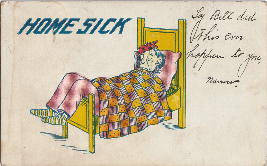 Home Sick Antique Postcard