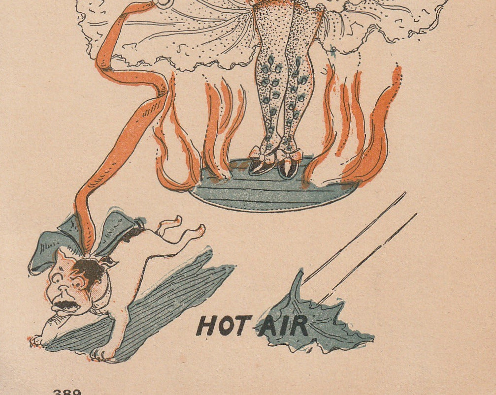 Hot Air Edwardian Risque Art Comic Postcard Close Up 2