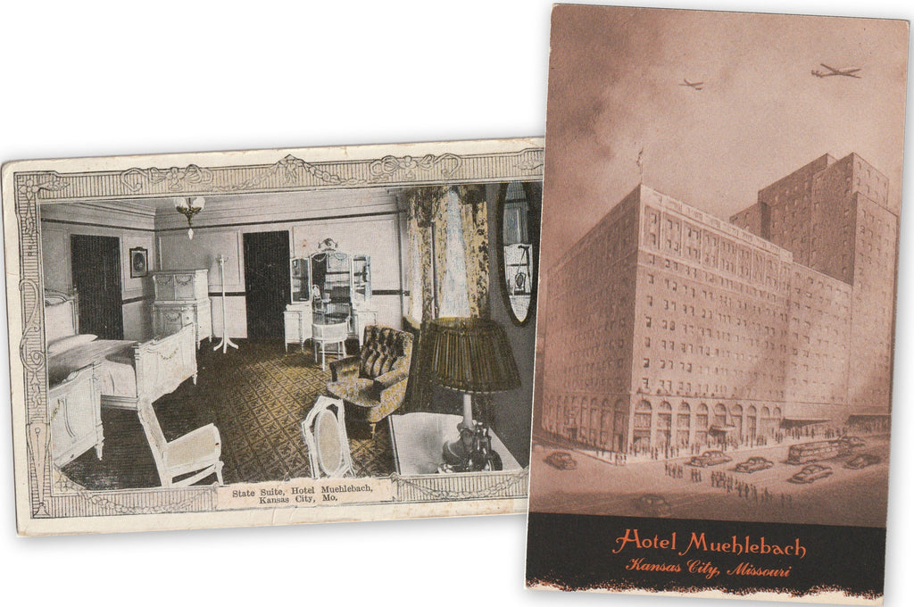 Hotel Muehlebach - Kansas City, Missouri - SET of 2 - Postcards, c. 1910s, 1940s