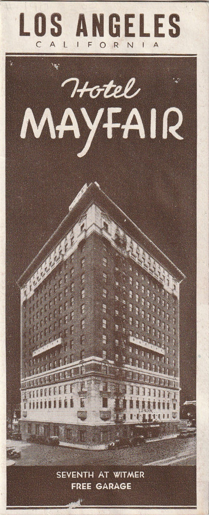 Hotel Mayfair Los Angeles 1920s Brochure