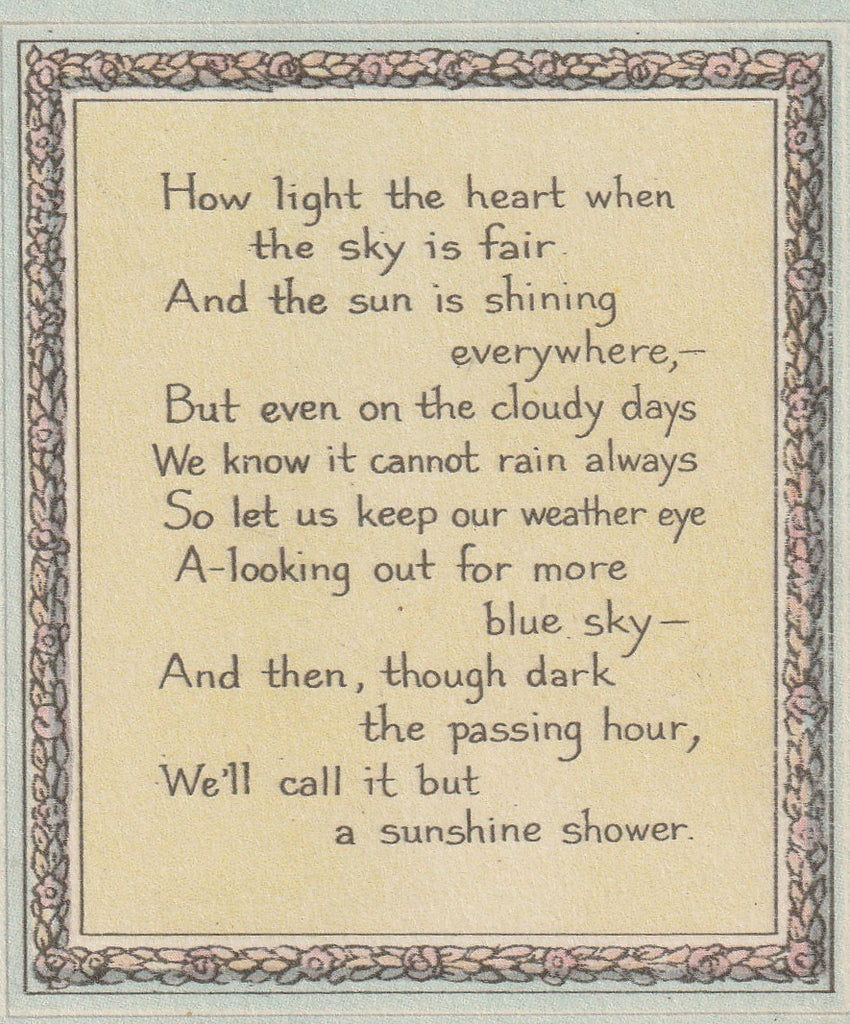 How Light The Heart When The Sky Is Fair - Antique Postcard, c. 1910s Close Up
