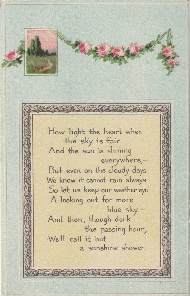 How Light The Heart When The Sky Is Fair - Antique Postcard, c. 1910s