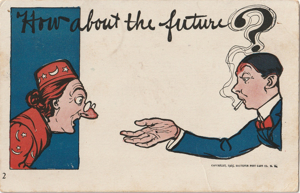 How About the Future Palm Reader Antique Postcard