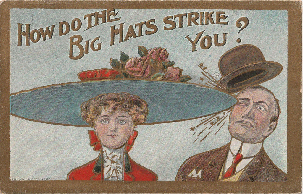 How Do The Big Hats Strike You H M Rose Postcard