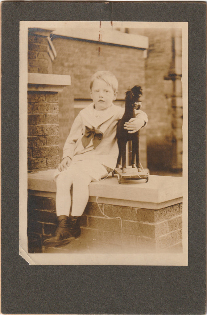 Howard's Pull-String Pony - Toy Horse - Cabinet Photo, c. 1910s