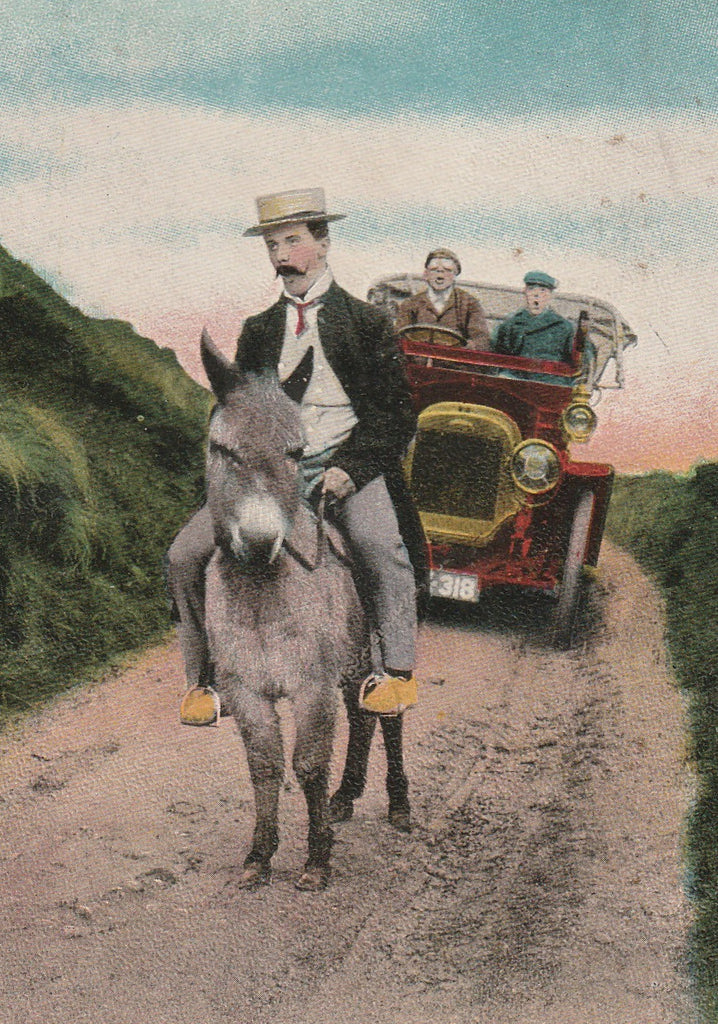 Hurry Up You Two in Front Antique Postcard Close Up