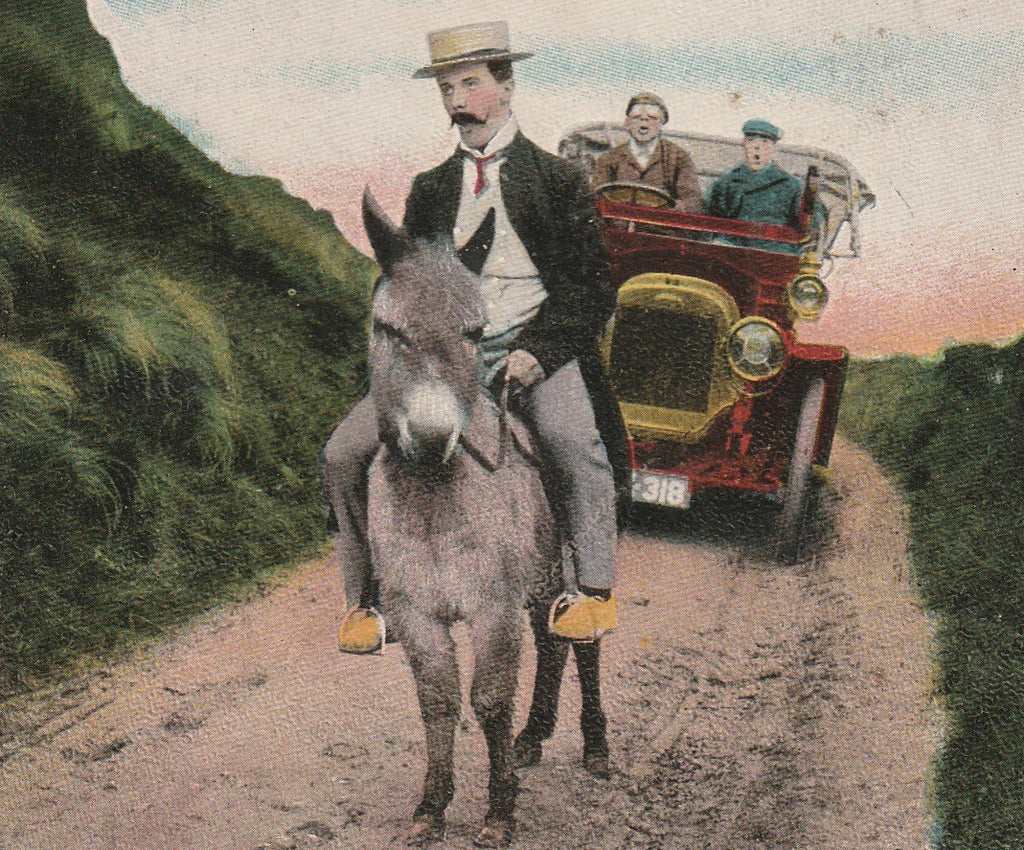 Hurry Up You Two in Front Antique Postcard Close Up 3