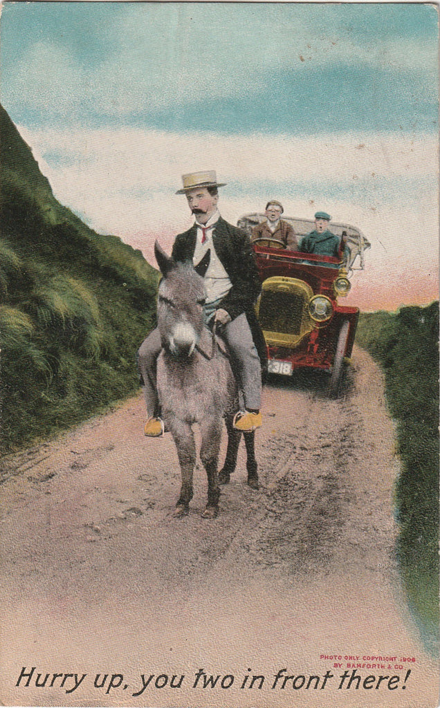 Hurry Up You Two in Front Antique Postcard
