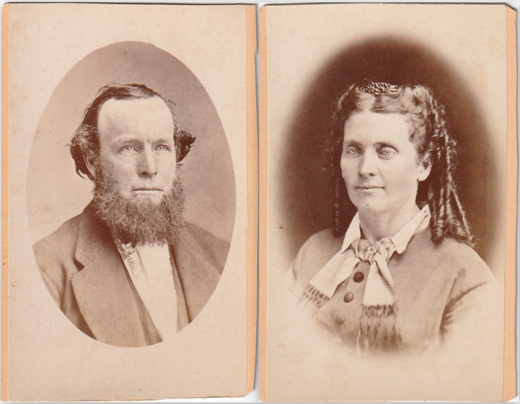 Husband & Wife - SET of 2 - CDV Photos, c. 1800s