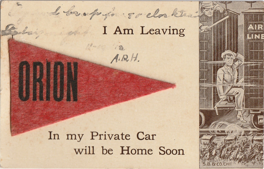 Leaving Orion Illinois Pennant Flag Postcard