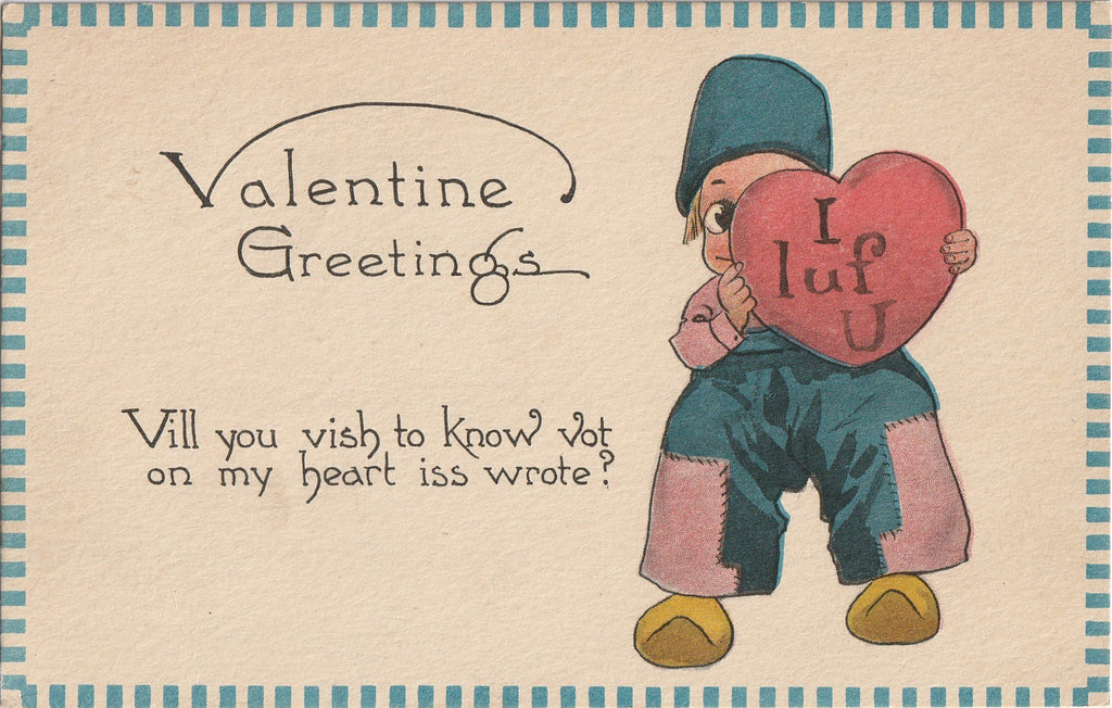 I Luf You - Dutch Valentine Postcard