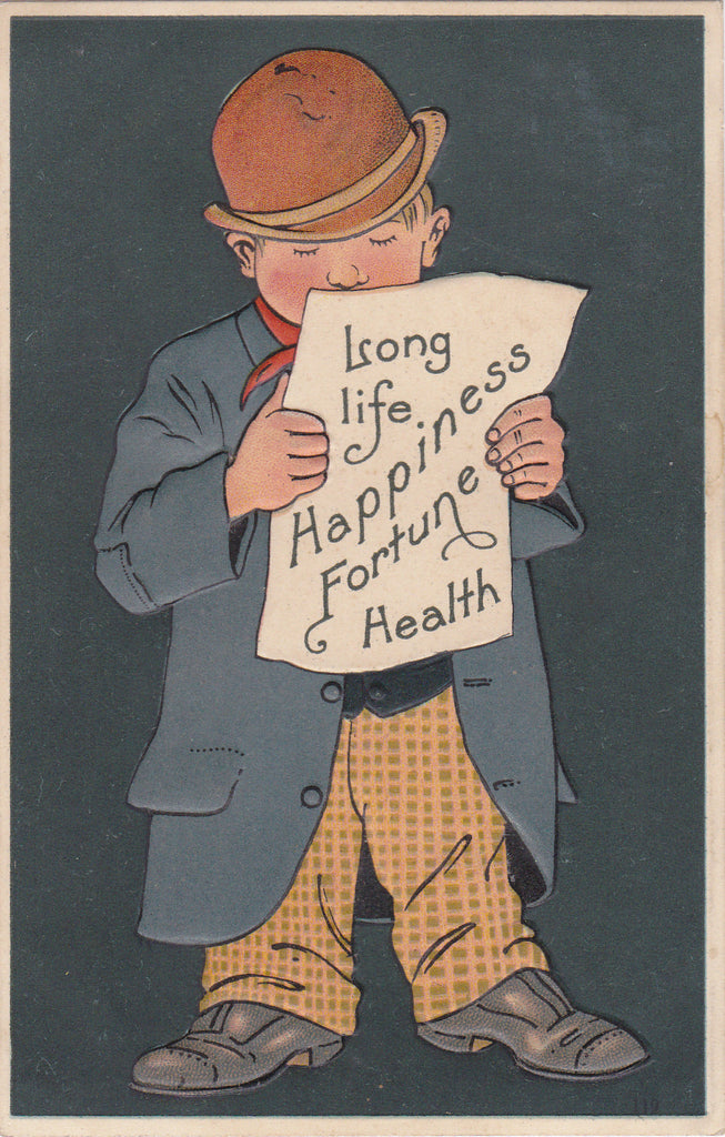 Long Life, Happiness, Fortune, Health- 1900s Antique Postcard- Edwardian- Embossed Greeting- Unused