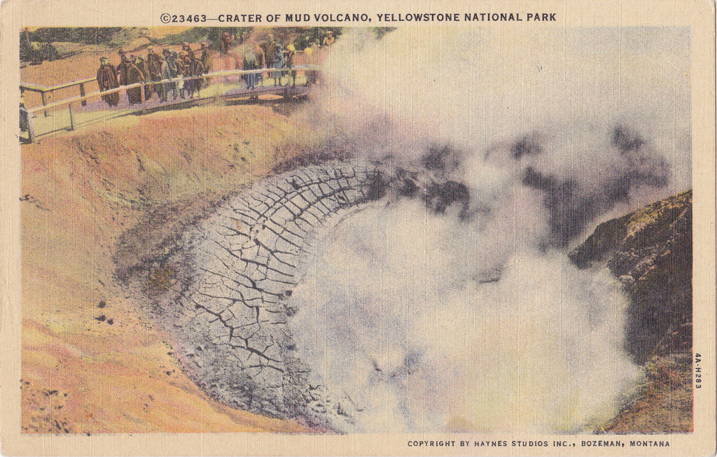Crater of Mud Volcano- 1930s Vintage Postcard- Yellowstone National Park- Wyoming Landscape- Souvenir