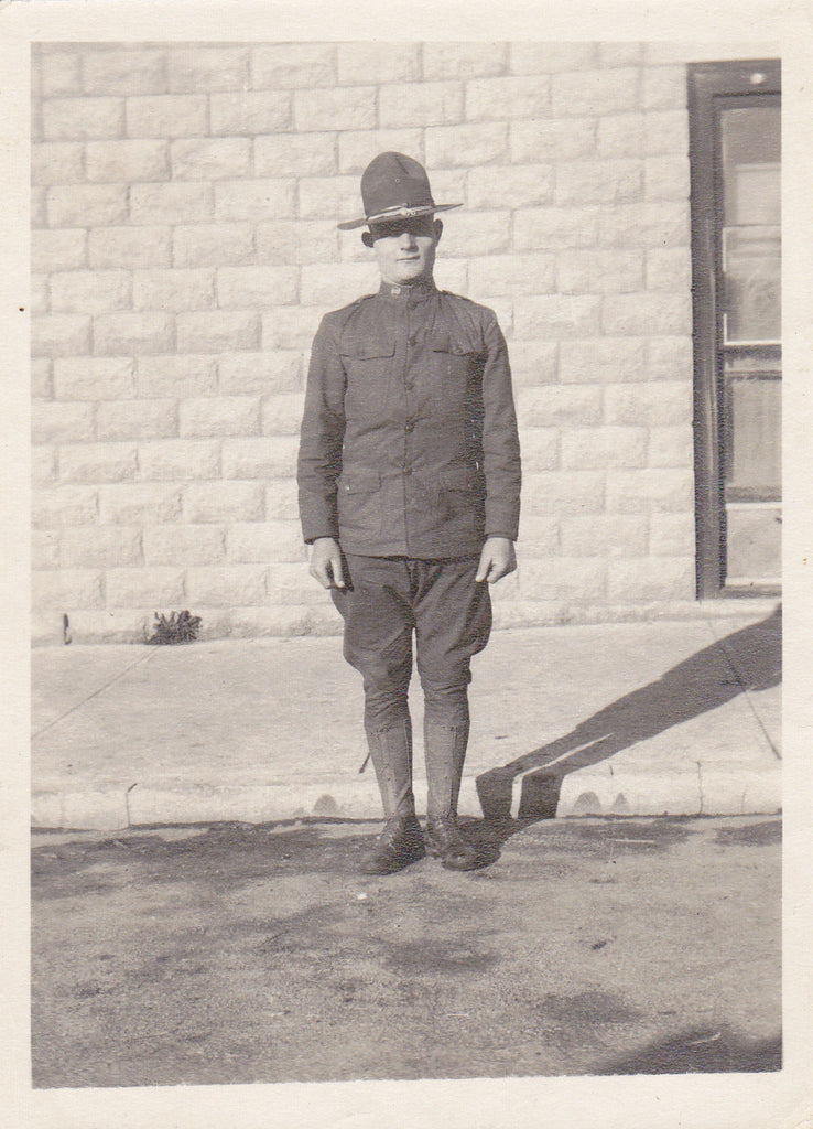 WWI Doughboy- 1910s Antique Photographs- SET of 3- First World War- WW1 Soldier Uniform- Military Man Photos- Snapshots