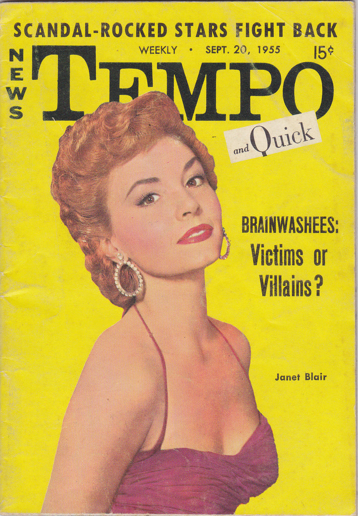 Brainwashees: Victims or Villains- 1950s Vintage Magazine- Tempo And Quick- September 20, 1955- Janet Blair- 50s Pin Ups