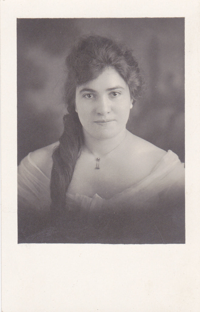Raven Haired Beauty- 1910s Antique Photograph- Edwardian Woman- Long Hair- Glamour Portrait- Real Photo Postcard- AZO RPPC