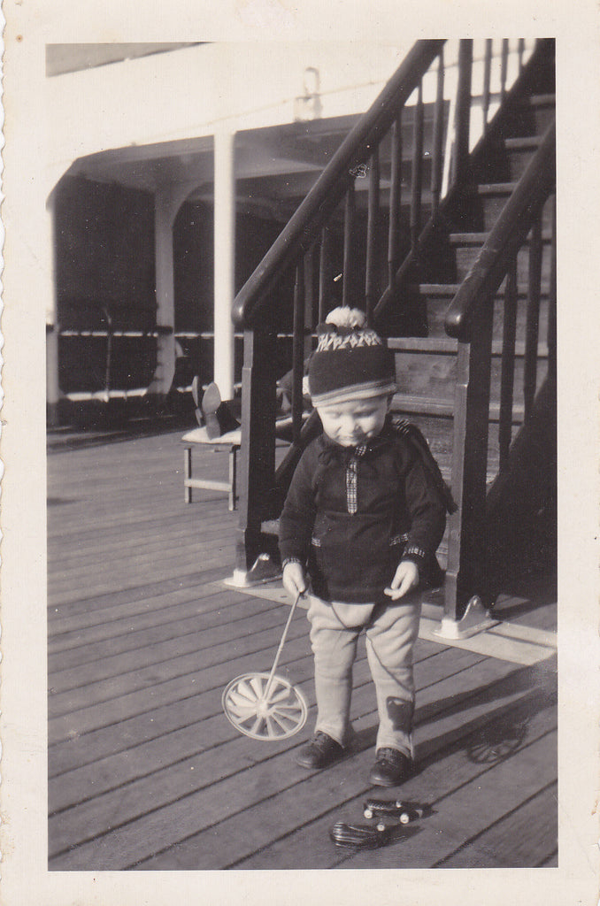 Aboard the S. S. Bremen- 1930s Vintage Photograph- Little Boy Playing on Deck- German Ocean Liner- Found Photo- Snapshot