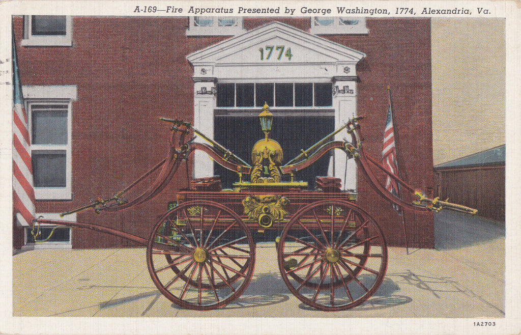 Fire Apparatus- 1940s Vintage Postcard- Presented By George Washington- Alexandria, Va- Virginia History- Fire Fighting- Used