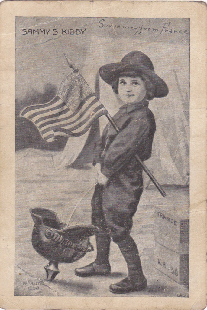 Sammy's Kiddy- Patriotic American Humor- WWI Souvenir- Made in France- 1910s Antique Card