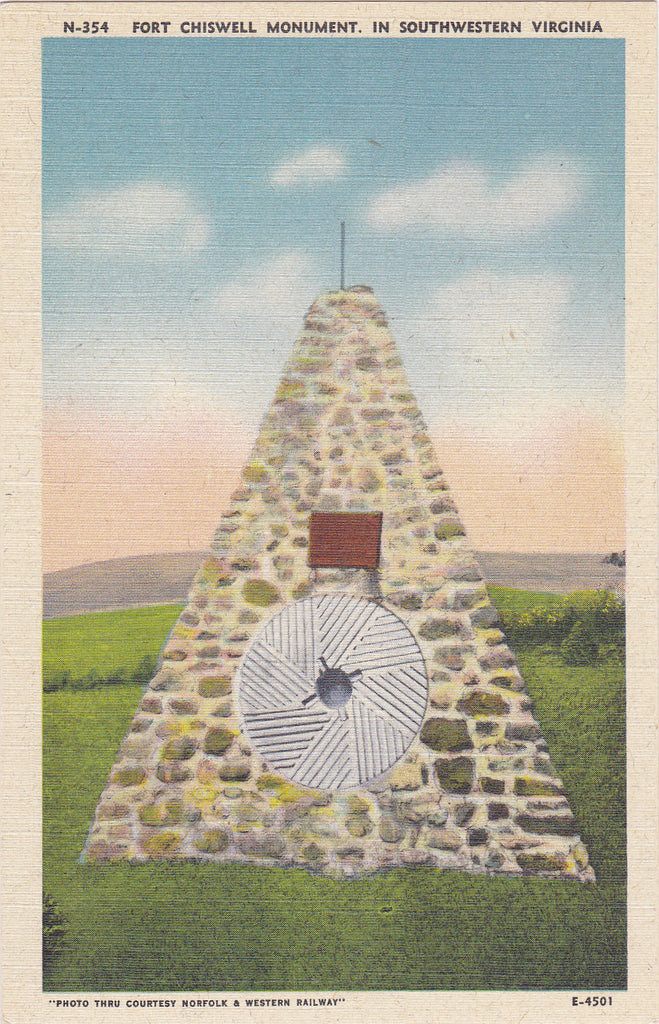 Fort Chiswell Monument- 1940s Vintage Postcard- Daniel Morgan- Southwestern Virginia- Historical Landmark-