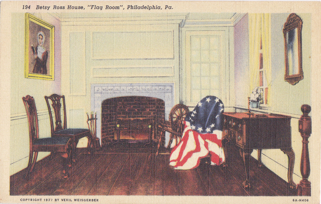 Betsy Ross House- 1940s Vintage Postcard- Flag Room- Philadelphia, PA- Pennsylvania- American Flag- Historical Landmark