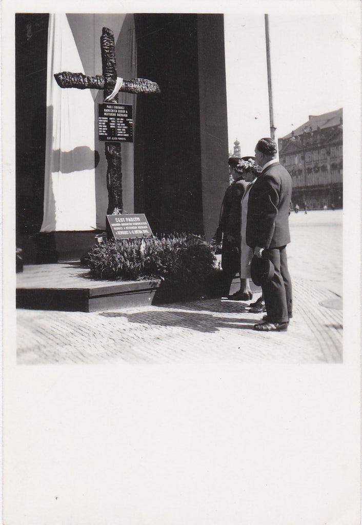 Burned Timber Memorial Cross- 1950s Vintage Photograph- Poděbrady, Czech Republic- Old Photo- Fire Disaster- Snapshot