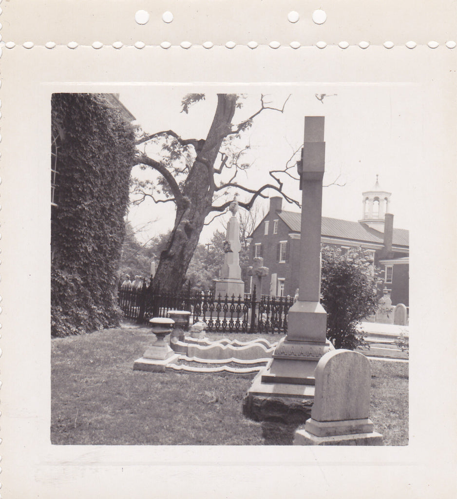Headstones and Monuments- 1950s Vintage Photograph- Church Cemetery- Graveyard Snapshot- Old Photo- Snapshot