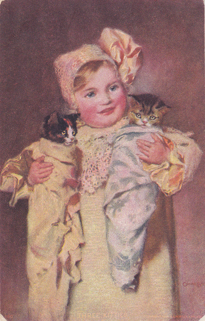 Three Little Kittens- 1900s Antique Postcard- Edwardian Girl with Cats- Cute Babies- S. S. Porter- Undivided Back