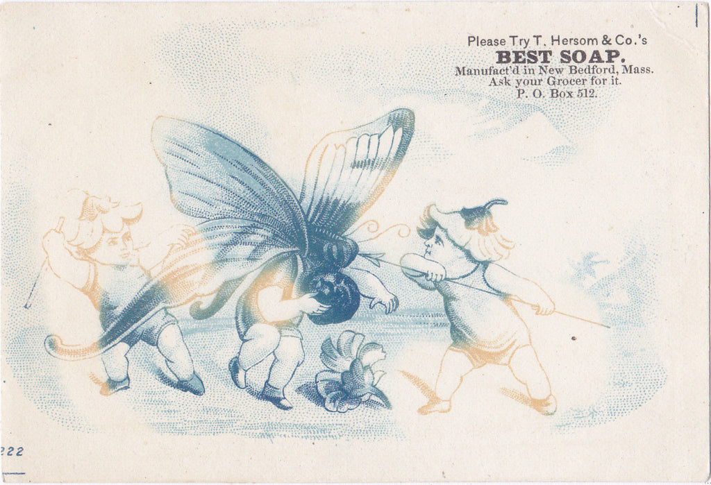 Fairy-Eating Butterfly- 1800s Antique Trade Card- T. Hersom & Co. Best Soap- New Bedford, MA- Flower Fairy- Weird Fantasy