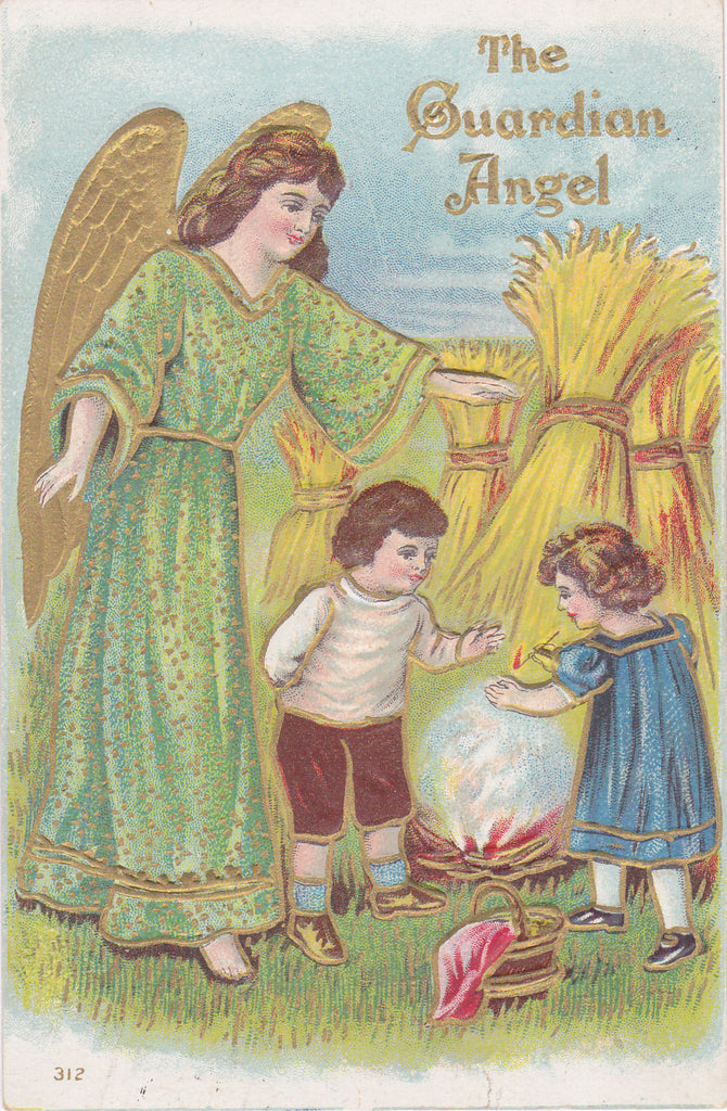 Playing with Matches- 1910s Antique Postcard- Guardian Angel- Edwardian Children- Embossed- Used