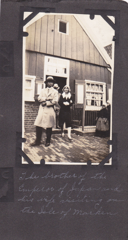 Prince Nobuhito Takamatsu and Wife- 1930s Vintage Photograph- Honeymoon- Isle of Marken- Brother to Emperor of Japan