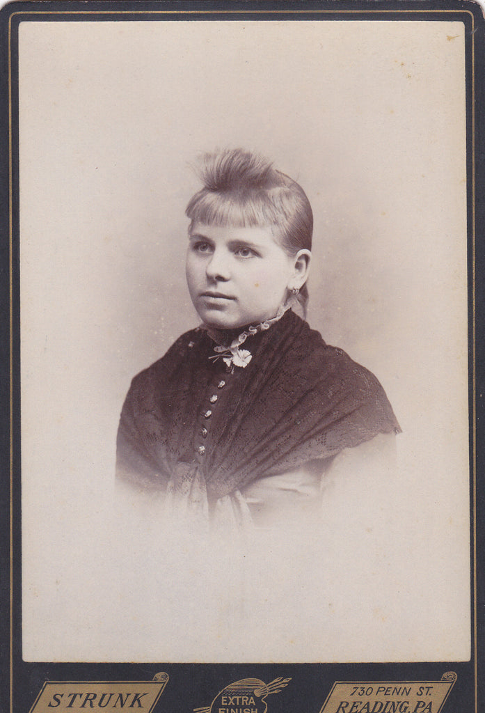 Bad Hair Day- 1800s Antique Photograph- Victorian Girl- Unusual Hairstyle- Reading, PA- Strunk Cabinet Photo- Portrait