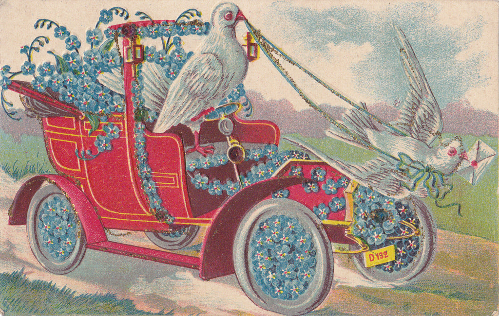 Driving Doves- 1910s Antique Postcard- Valentine- Forget-Me-Nots- Automobile- Edwardian Floral- Used