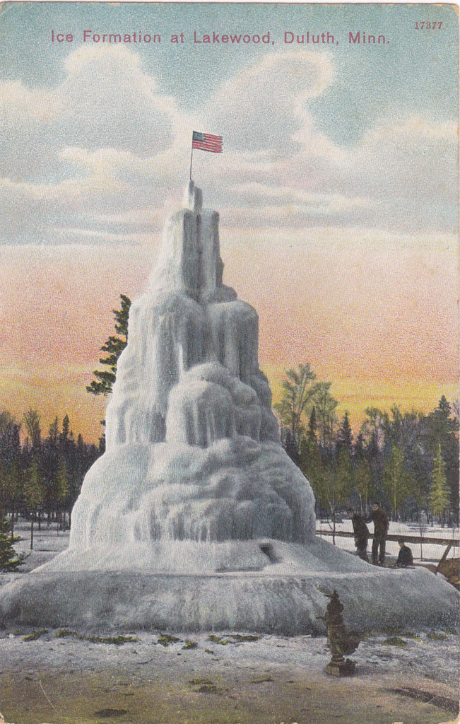 Ice Formation at Lakewood- 1900s Antique Postcard- Duluth, Minnesota- Frozen Water Fountain- Winter Weather- Used