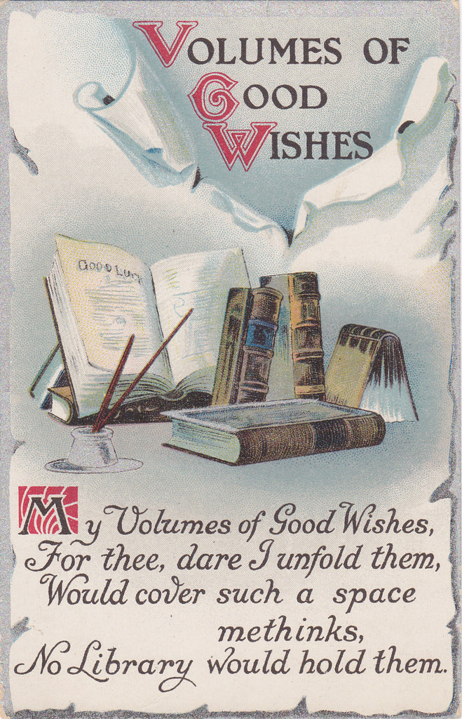 Volumes of Good Wishes- 1910s Antique Postcard- Book Lover- Edwardian Greeting- Library- Unused