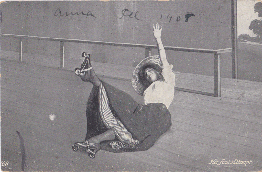 Her First Attempt- 1900s Antique Postcard- Falling Woman on Roller Skates- Art Comic- Used