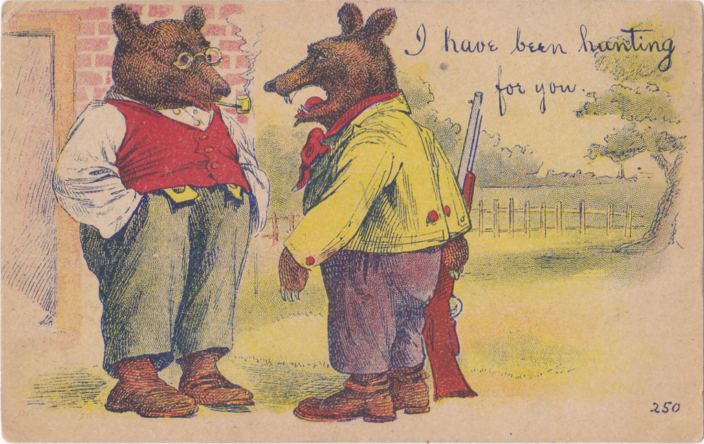 I've Been Hunting For You- 1900s Antique Postcard- Anthropomorphic Bears- Edwardian Humor- Art Comic- Unused