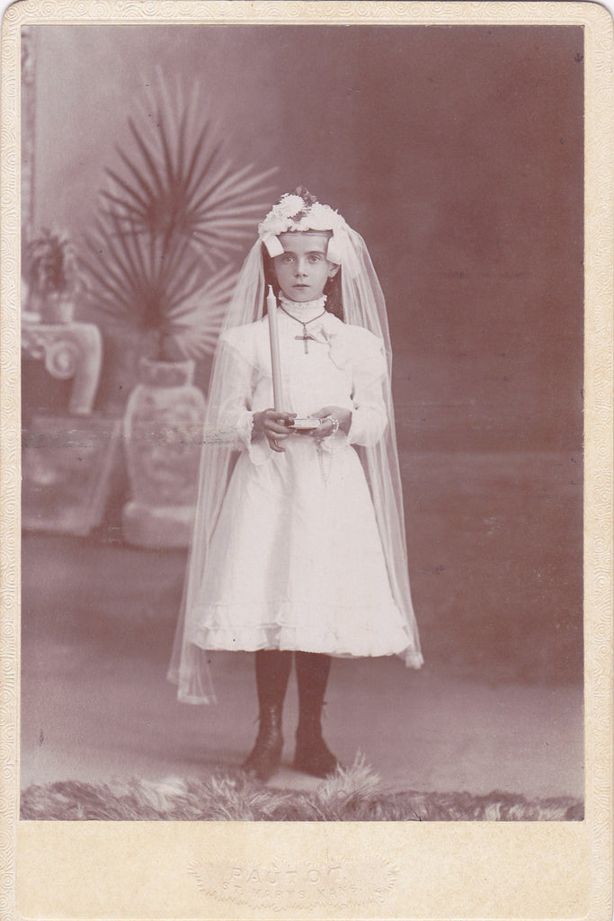 Haunting Confirmation Girl- 1800s Antique Photograph- Victorian Catholic- St Marys, Kansas- Ghostly Portrait- Cabinet Photo