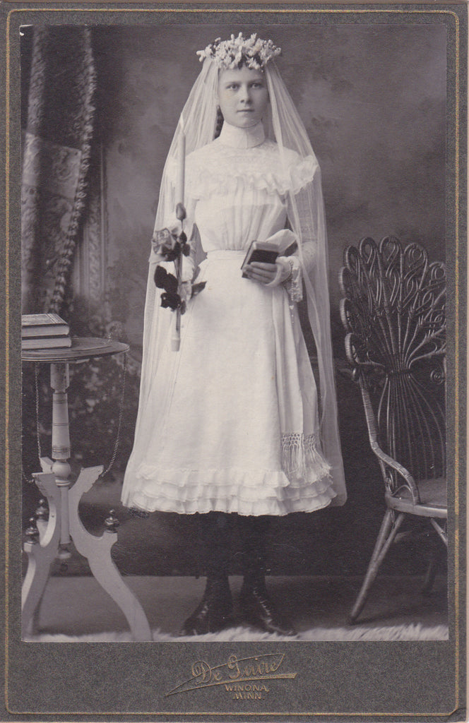 Virtuous Confirmation Girl- 1800s Antique Photograph- Victorian Catholic- Candle Flame- Cabinet Photo- Winona, Minn