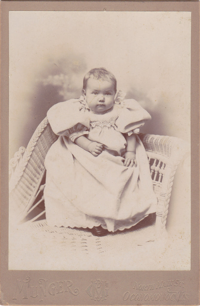 Hidden Mother- 1800s Antique Photograph- Victorian Baby Portrait- Oconomowoc, WI- Photographer Munger- Cabinet Photo