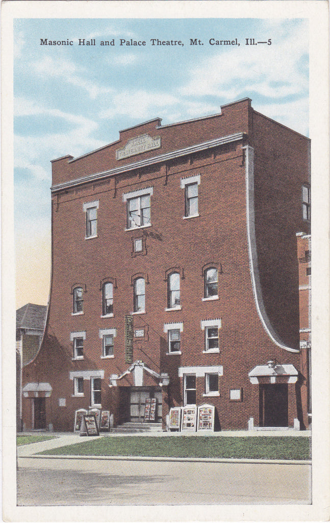 Masonic Hall and Palace Theatre-  1930s Vintage Postcard- Mt. Carmel, IL- E. C. Kropp- Unused