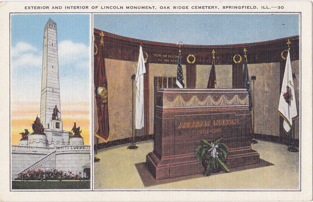 Lincoln Monument- 1930s Vintage Postcard- Oak Ridge Cemetery- Springfield, Illinois- Abraham Lincoln Memorial- Tomb- Unused