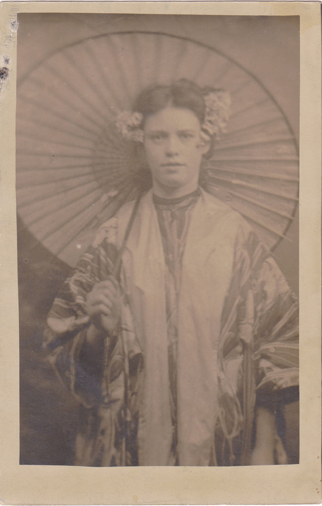 Geisha Costume- 1900s Antique Photograph- Edwardian Woman in Kimono- Mikado Actress- Found Photo- Real Photo Postcard- RPPC