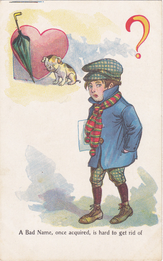 Bad Name in Love- 1900s Antique Postcard- Old Art Comic- Valentine Card- Edwardian Boy- Art Comic- Puppy Dog- Unused