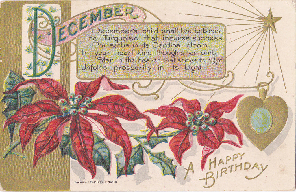 December's Child- 1900s Antique Postcard- Edwardian Christmas Birthday- Poinsettia Flowers- E Nash- Used