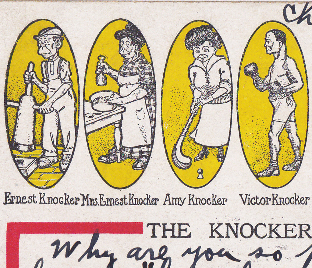 The Knocker Bunch- Caricature Family- Edwardian Humor- Chicago- Old Art Comic- J. F. Hirschman- 1900s Antique Postcard- Used