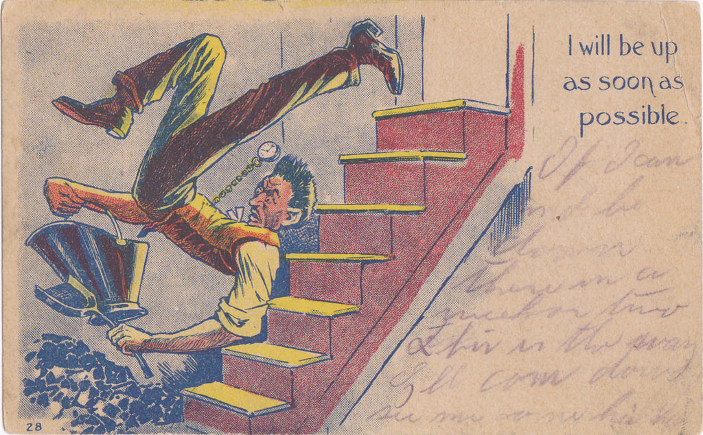 Down in the Dumps- 1900s Antique Postcard- Coal Cellar- Falling Down Stairs- Edwardian Humor- Art Comic- Used