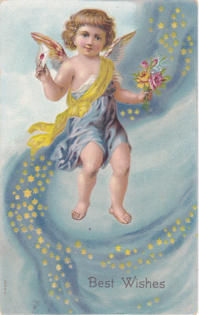 Best Wishes- 1910s Antique Postcard- Winged Cherub- Six Point Stars- Happy Birthday- Edwardian Greeting- Used