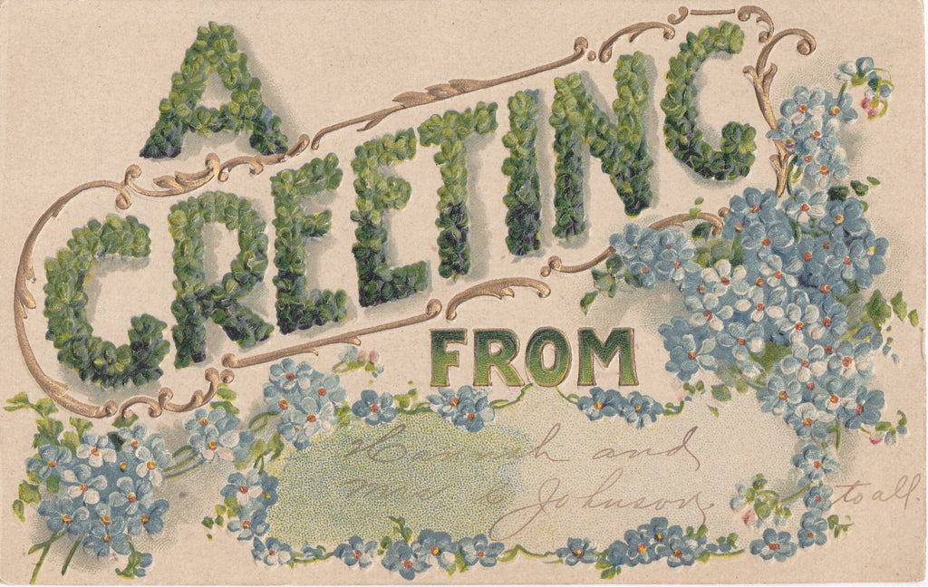 A Greeting In Clover- 1900s Antique Postcard- Forget-Me-Nots- Lucky Charms- Good Luck- B. B. London- Edwardian Floral- Used