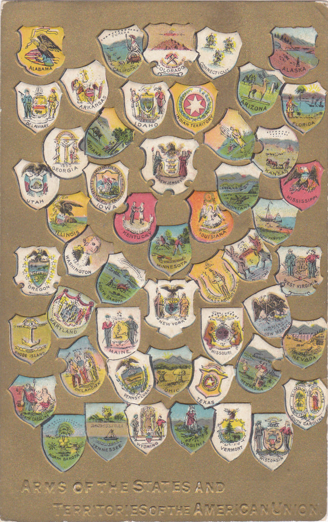 Arms of the States- 1900s Antique Postcard- Territories of American Union- State Shields- Edwardian Era- Unused